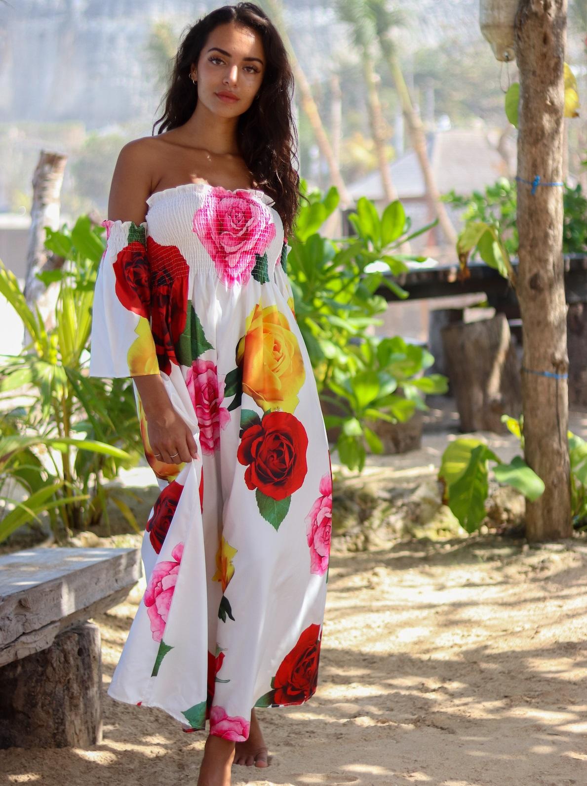 Rochie Maxi Print Trandafiri Joella Alba
